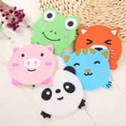 Efivs Arts Cute Colourful Animal Silicone Rubber Coasters Cup Mats for Wine, Glass, Tea-Wedding Registry Gift Idea Set of 5