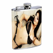 Russian Pin Up Girl Model Flask Stainless Steel 240ml Hip Silver S6 Whiskey Drinking Sexy Bikini Swimsuit