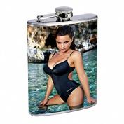 Italian Pin Up Girl Model Flask Stainless Steel 240ml Hip Silver S7 Whiskey Drinking Sexy Bikini Swimsuit