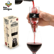 Bar Amigos Wine Aerator - Globally Patented Triple Action Design -Easy To Clean - Includes Display Stand, Travel Bag & Exclusive Gift Box - Essential Dining Accessories For Red White Wine Drinking