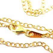 Gold plated Sterling Silver Strong Cable Chain Necklace, Gold Cable Oval Necklace Chain - All Sizes