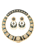 Dilan Jewels POWER Collection Blue Colour Meenakari Kundan Hasli Necklace Set For Women
