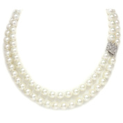 Akoya Pearl Necklace 9 - 8.5 MM AAA Quality 18k Solid White Gold Diamond Clasp
