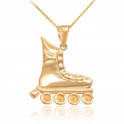 Polished 14k Yellow Gold Skater Rollerblade Sports Pendant Necklace