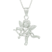 Sterling Silver Rhodium Plated Cupid Angel with Bow Pendant Necklace, 46cm
