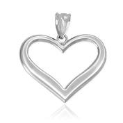 Polished 14k White Gold Love Charm Open Heart Pendant