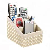 Polkar 3 Slot Compartments Multifunctional PU Leather Desktop Storage Office Desktop Organiser Remote Control Holder