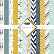 Scrapbook Customs Themed Paper Scrapbook Kit, Navy Mustard