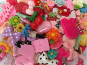 Chenkou Craft 50pcs Lots Mix Assort Easter DIY Flatbacks Resin Flat Back Buttons Scrapbooking