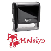 Personalised Name Self Inking Stamp, Fox Stamp, Custom Stylish Font, Customised with Name, Rubber Stamp, Naming Stamp, Children's Signature Stamper, School Book Label Name, Kids Stamp