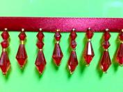 3.8cm Crystal Beaded Fringe Trim CBF-3/30 Red