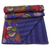 Kantha Bedspread Blue Floral Queen Cotton Reversible Quilt Throw 270cm x 210cm