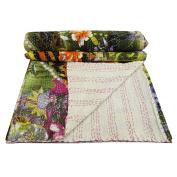 Floral Print White Cotton Reversible Gudri Quilt Bedspread Throws Queen Size Gift Art 270cm X 210cm