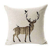 Leegor Deer Silhouette Square Pillowcase Cushion Case Hidden Zipper Closure Wrinkle Free Stain Resistant