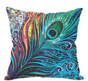Leegor 43 x 43cm Peacock Feather printing Sofa Bed Home Decor Pillow Case Cushion Cover Wrinkle Free Stain Resistant