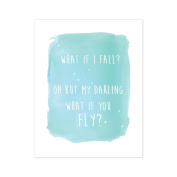 What If You Fly In Blue 11x14 Wall Art, Canvas Or Print, Inspirational Wall Decor, Nursery Decor, Motivational Art, Inspirational Wall Quotes