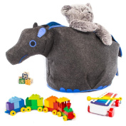 G.U.S Noah's Ark Toy Chests with Easy Open, Double-Pull Zipper Handle, Hippo, Grey with Blue