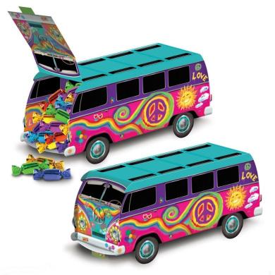 1 Groovy Retro 60s Party Decoration HIPPIE Tie Dye LOVE PEACE BUS centrepiece