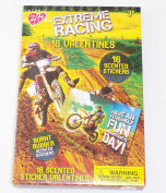 Extreme Racing Valentine Cards for Classroom Sharing with BURNT RUBBER Scented Stickers Motorcycle