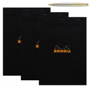 Rhodia Graph Pad, 21cm . x 30cm ., Black, 3-Pack bundled with a Plexon Rollerball Pen