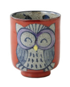 Saikai Pottery Hand drawing Owl Japanese Tea cup Red size:S 83973 from Japan