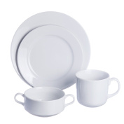 ROUND 4-Piece DINNERWARE Set with Soup/Salad/Serving Bowl, White Porcelain