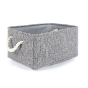 TheWarmHome Collapsible Rectangular Household Fabric Storage Organiser Basket with Handles for Kids,Grey