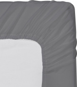 1 PC Fitted Sheet Fit Upto 10-36cm Deep Pocket 600 Thread Count 100% Egyptian Cotton Solid Queen Elephant Grey