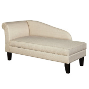 Modern Soft Cotton Fabric Upholstered Low Back Storage Chaise Lounge with Wood Legs - Includes Modhaus Living Pen