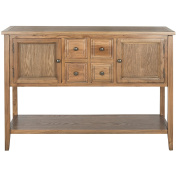 Contemporary Wood Storage Sideboard Console with 4 Drawers 2 Cabinets and Bottom Shelf in Oak Finish - Includes Modhaus Living Pen