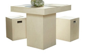Limari Home Wiz Collection Modern Style Concrete Room and Kitchen Dining Table, 80cm Tall, Ivory
