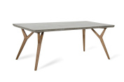 Limari Home Jacek Collection Modern Style Concrete Room and Kitchen Dining Table with Wood Legs, 80cm Tall, Grey