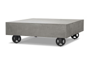 Limari Home Reza Collection Modern Style Concrete Living Room Coffee Table with Wheels, 36cm Tall, Grey