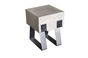 Limari Home Nsumi Collection Modern Style Concrete Dining Room Stool with Bolted Metal Legs, 46cm Tall, Grey