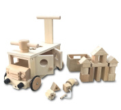 How to play various wooden building blocks bus riding toy rattle press car puzzle