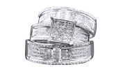 White Natural Diamond Engagement & Wedding Trio Band Ring Set In 10k Solid Gold
