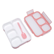 Japanese Lunch Bento Box Leak-Proof Sealing Food Container - 4 Compartments With a Spoon - BPA-free Microwave-Safe Boxes