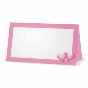 Pink Hearts on Pink Place Cards - TENT STYLE - 10 PACK - White Blank Front with Solid Colour Border - Placement Table Name Seating Stationery Party Supplies - Occasion or Dinner Event