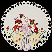 Easter Bunny Painting Egg Linen Doily 41cm Round