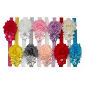 Leegor 10pcs Baby Girl's Adjustable Headbands Lovely Hair Band Hair Flower Headwear