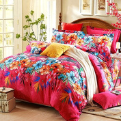 Floral Brushed Bed Set Duvet Covers Set Queen 4 Pieces