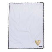 XOXO Black and White Plush Blanket with Gold Heart Applique by NoJo