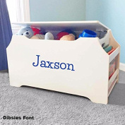 Personalised Dibsies Kids Toy Box with Book Storage - White For Boys