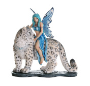 Decorative Companion Fairy Hima with Snow Leopard Collectible Decorative Statue 8H