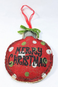 Colourful Red and Green Burlap Ornaments