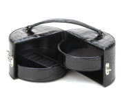 Fennco Styles Black Faux Leather Snakeskin Carry-All Jewellery Box
