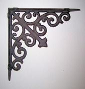 Heavy Cast Iron - All-Purpose Shelf/Hanger Bracket - With Complex Swirls And Curls Design - Fluer-De-Lis Centre Design - Indoor or Outdoor Use -