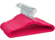 Premium Quality Space Saving Velvet Hangers with Chrome Hooks by Zober - Non Slip Suit Hangers in Pink - 50 pack
