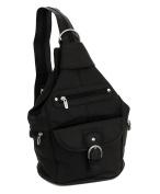 Womens Leather Convertible 7 Pocket Medium Size Tear Drop Sling Backpack Purse Shoulder Bag