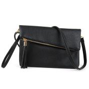 Jiaruo Girls Tassel Fold Cover Sling Leather Crossbody Bag Handbag Purse